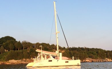 Evening sun on catamaran