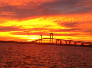 Summer sunset at Newport Bridge