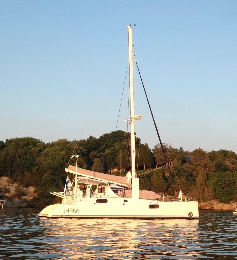 At anchor after a great catamaran sail