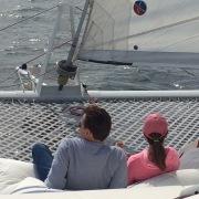 Trampoline time on catamaran