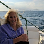 Janet enjoying catamaran sail