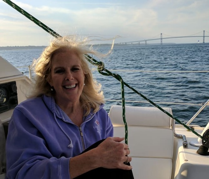 Janet enjoying catamaran sail