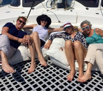 Sailing on a catamaran is relaxing