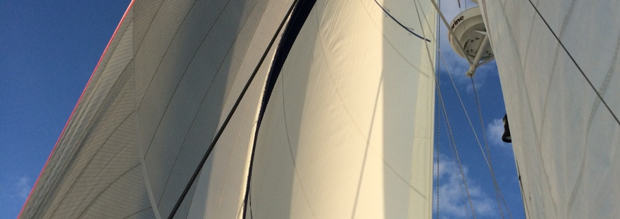 Sun on the catamaran sails