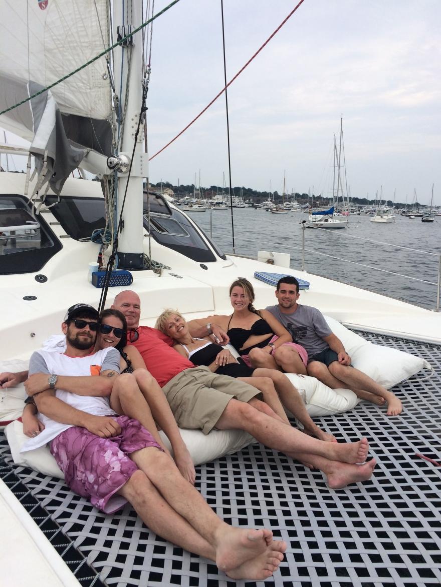 Family time on catamaran