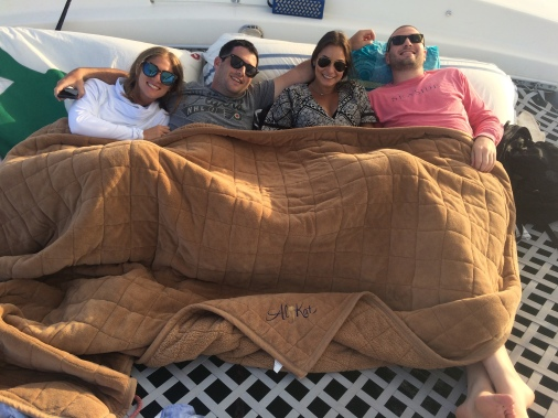 Staying warm on evening sail