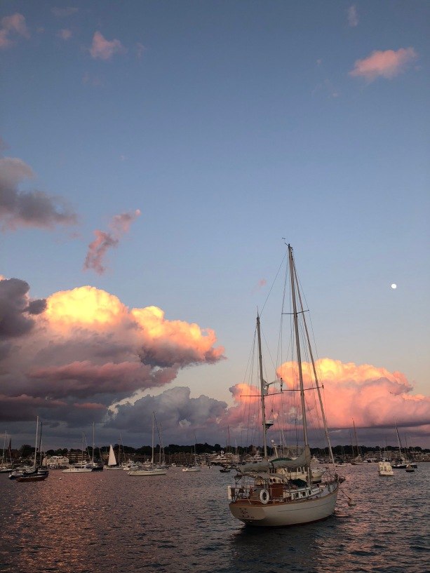 Sunset, moon and masts