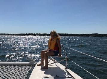 Girl on a catamaran