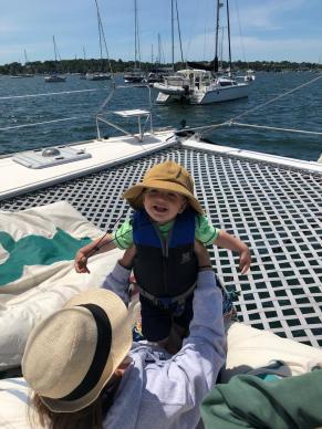 Toddlers first catamaran sail