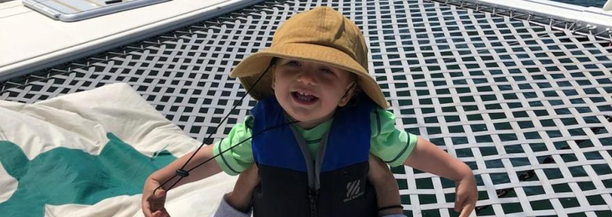 Toddlers first catamaran sail