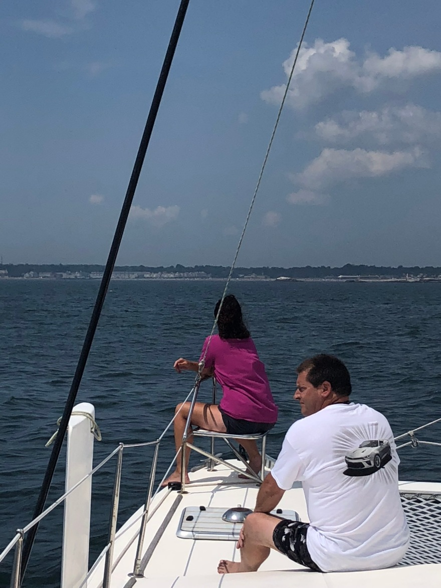 Cooler on a catamaran