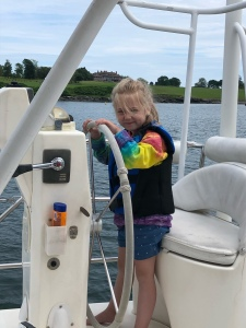 Five year old at the helm