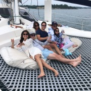 Friends on catamaran charter